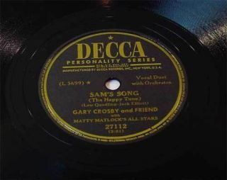 Gary Crosby   Sams Song (The Happy Tune)   78rpm