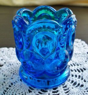 Stars Moon Glass Scalloped Toothpick Holder L E Smith or L G Wright