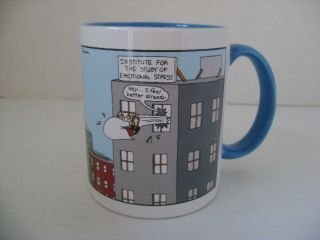 THE FAR SIDE GARY LARSON EMOTIONAL STRESS COFFEE MUG CUP 1998