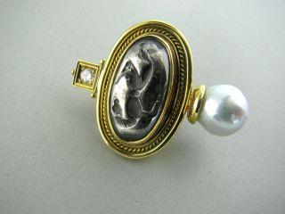 Estate Elizabeth Gage 18K Gold Pearl Diamond Earrings