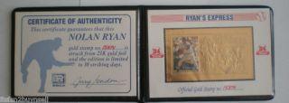 Nolan Ryan Express 23kt Gold Stamp w Book COA 15374