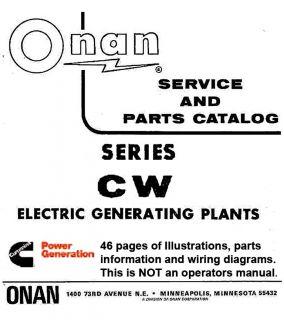 Onan DYD Begin Spec F Generator Parts Catalog Manual