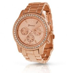 Geneva Rose Gold Plated Classic Round CZ Ladies Watch