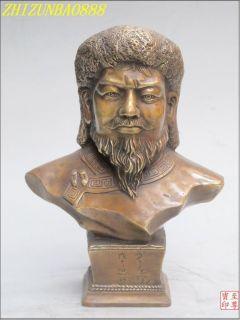 Western Art Bronze Temujin Mongol King Genghis Khan Statue