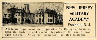 New Jersey Military Academy Freehold College   ORIGINAL ADVERTISING