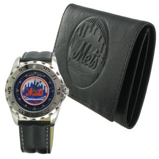 Game Time Watch Wallet Mens New York Mets Leather Gift Set