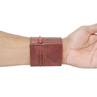 Genuine Leather Wrist Wallet Zippered Pocket with Velcro Closer 915CF