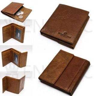 New Mens Brown Genuine Leather Bifold Coin Pocket Vintage Wallet Purse