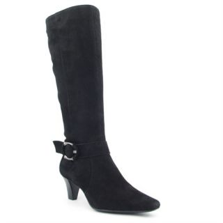 Womens AK Anne Klein GAM Black Suede Knee Zip Heel BUCKLE Riding Boots