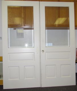 SOLID WOOD FRENCH DOORS with BEVELED GLASS INTERIOR or ENTRY