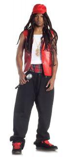 Rapper Costume Gangsta Lil John Wayne Vest Bling Dreadlock Wig Mens