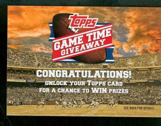 2012 TOPPS GAME TIME GIVEAWAY FOOTBALL TRADING CARD WIN PRIZES ETC SEE