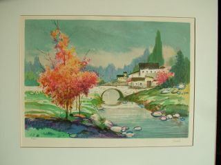 FRENCH VILLAGE EUROPE CASALS SIGNED NUMBERED MATTED ORIGINAL