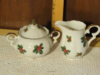 Lefton Christmas Pattern Porcelain Cream and Sugar Mint Numbered 7949