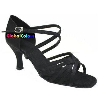 GC Black Satin Latin Ballroom Salsa Dance Shoes All Size C536