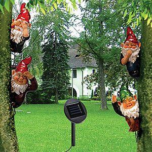 NEW Solar powered Garden Tree Gnomes (Set of 4) Whimsical Yard Decor