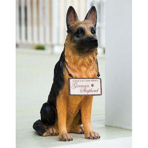 German Shepherd Welcome Friends Dog Outdoor Statue