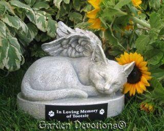 KITTY CAT ANGEL PET MEMORIAL Garden Statue PERSONALIZED FREE
