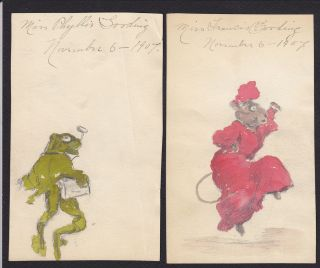 Antique Frog Mouse Hand Drawing Painting Francis Phyllis Gooding Art