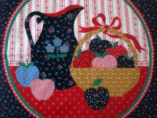 Calico Pitcher Apple Fruit Basket Lace pillow panel craft fabric