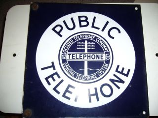 Public Telephone Associated General Vintage Two Sided Porcelain Sign