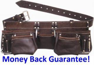 Best Tool Belt 11 Pocket Oil Tanned Leather Apron Carpenter Tough Bag
