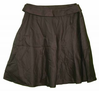 George sz 14 Womens Dark Brown Cotton Full Skirt with belt KN33