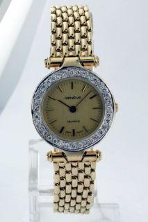geneve 14k yellow gold diamond ladies vintage watch