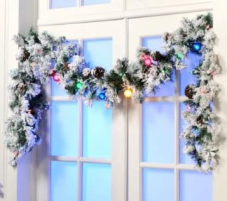 Colin Cowie 9 Flocked White Garland with Multi Colored Lights in Two