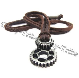 Choker Cool Wheel Gear Pendant Genuine Leather Necklace Fashion