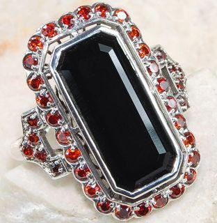 Black Onyx Garnet 925 Solid Sterling Silver Ring Sz 7 5