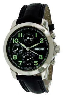 George J Von Burg Chronograph Black Dial Crocodile Leather Mens Watch