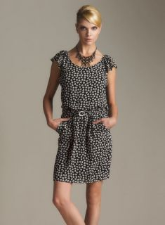 Gerard DAREL APC Black Silk Heart Print Dress Anthropologie 36 4