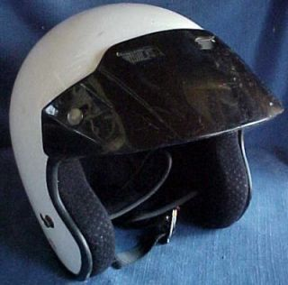 Vintage 1980s Arthur Fulmer AF 35 White Motorcycle Helmet w Visor Size