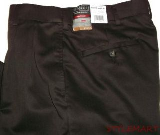 New Mens George Brown Pleated Cuffed Dress Pants Size 30x30
