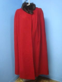 George David FOX FUR COLLAR Red WOOL Women FULL LENGTH Cape