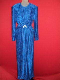 George F Couture Sapphire Blue Crinkled Rhinestone Waist Formal Dress