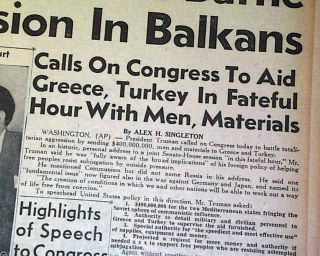 President Harry TRUMAN DOCTRINE Greece & Turkey Aid   Communism 1947