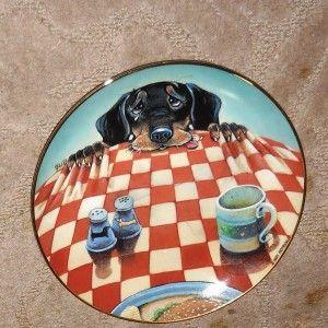 Eight Gary Patterson Dachshund Plates Danbury Mint 8 Plates Vintage