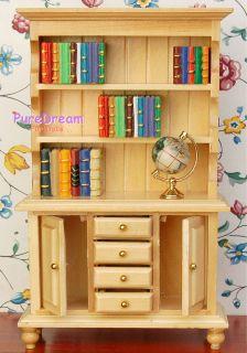 Dollhouse Miniatures Furniture Wood Bookshelf Cabinet Hutch