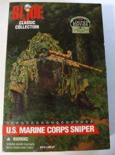 Gi Joe US Marine Corps Sniper Brown Hair 12 Action Figure New in Box
