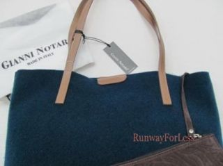 New Italy Gianni Notaro Blue Wool Handbag Shoulder Bag Purse Tote
