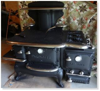 Dartmouth K Wood Gas Burning Cooking Stove 1890s w Original Coal Dock