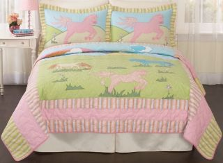 Giddy Up Horse Pink Blue Girl Twin Quilt Bedding Set