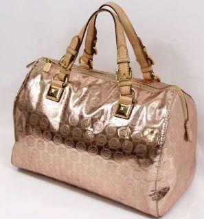 Michael Kors Grayson Monogram Large Satchel Handbag Mirror Metallic