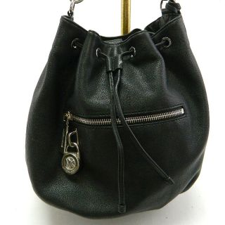 MICHAEL KORS MK AUTH Leather Knox Drawstring Satchel Black Handbag 378