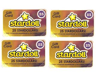 Stardoll Barbie 4 Gift Cards 25 Stardollars Point Dollar Website