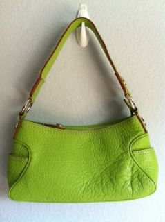 Michael Kors Green Leather Shoulder Bag Small Purse Handbag Canvas