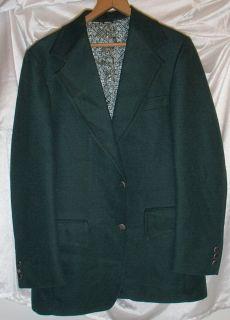 Vintage Dark Green Montgomery Ward Polyester Mens Blazer Sport Coat