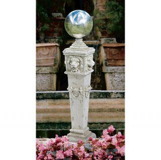 Lion Head Gazing Globe Garden Pillar Statue Column Pedestal Ball
